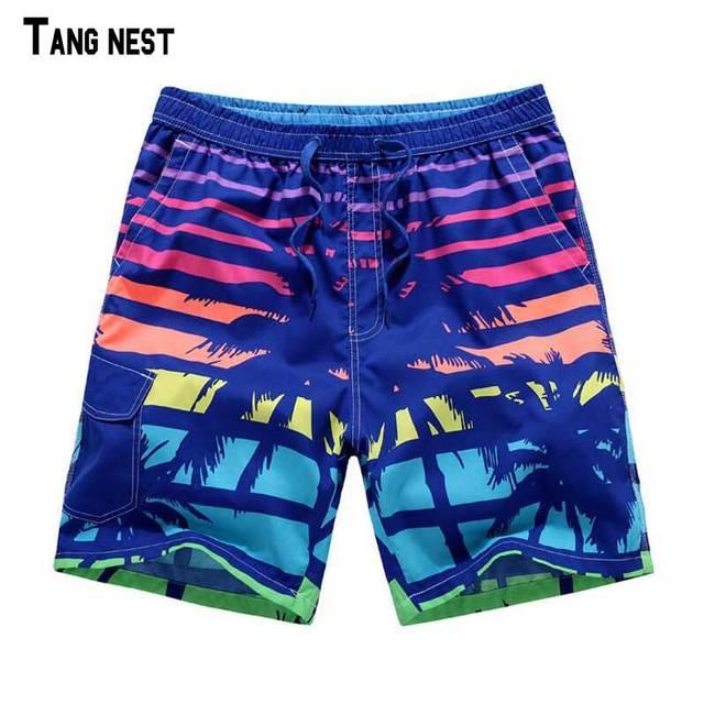 TANGNEST Men's Beach Shorts 2017 New Summer Shorts Hot Print Elastic Waist Shorts Casual Beach Shorts MKD764
