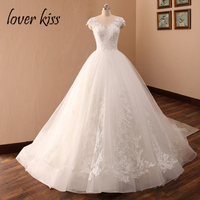 Lover Kiss Vestido De Noiva 2018 Tulle Cap Sleeve Wedding Dresses White Lace Church Bridal Gowns Corset robes mariages Women