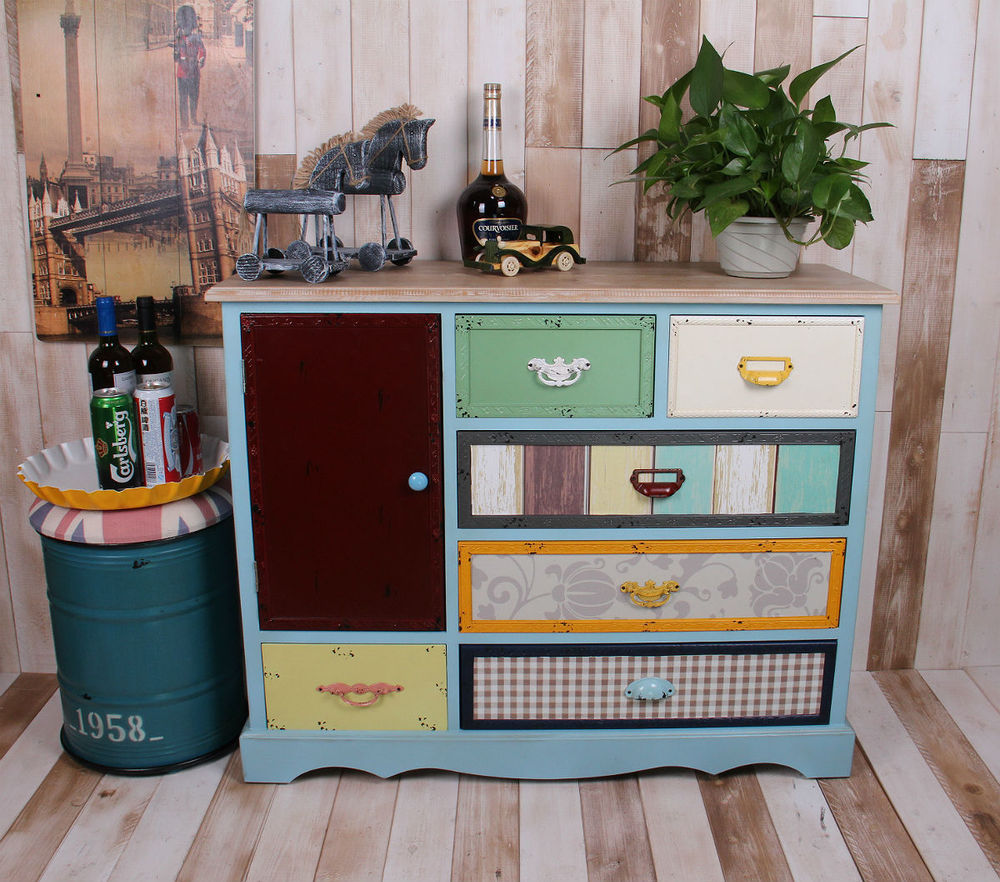 American Industrial Wind Loft Wood Storage Drawer Cabinet Drawer Storage  Cabinets Retro To Do The Old
