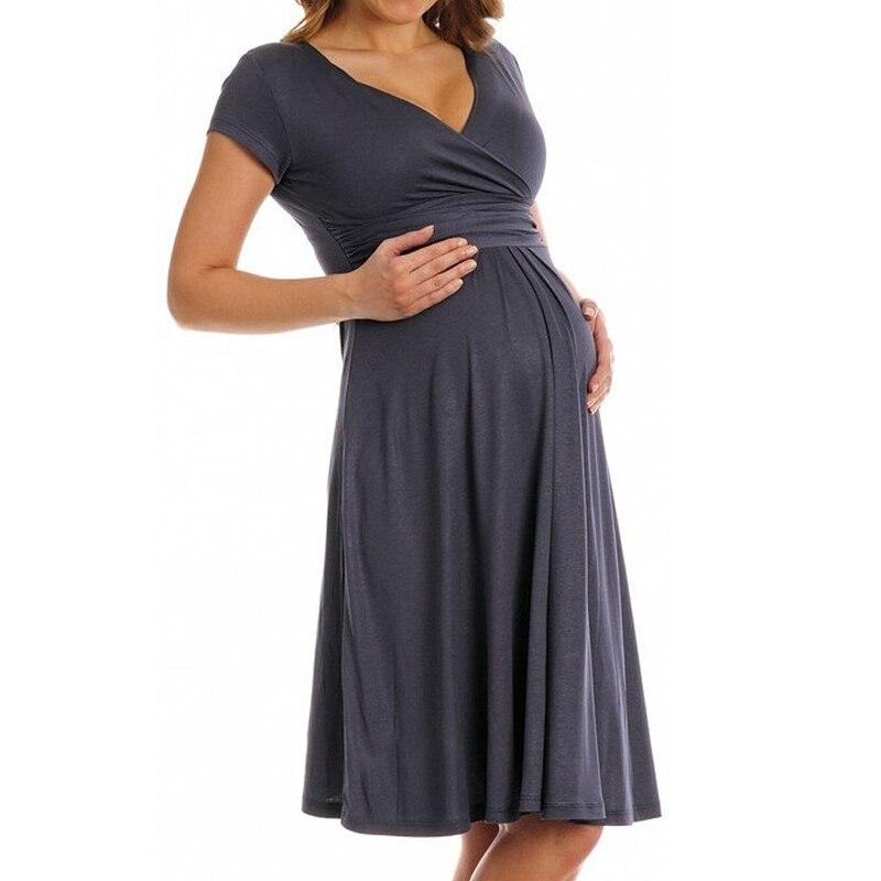 New 2018 V-neck Summer Cotton Pregnant Women Dress For Maternity Clothes Short-sleeved Pleated Dresses Nursing Clothing