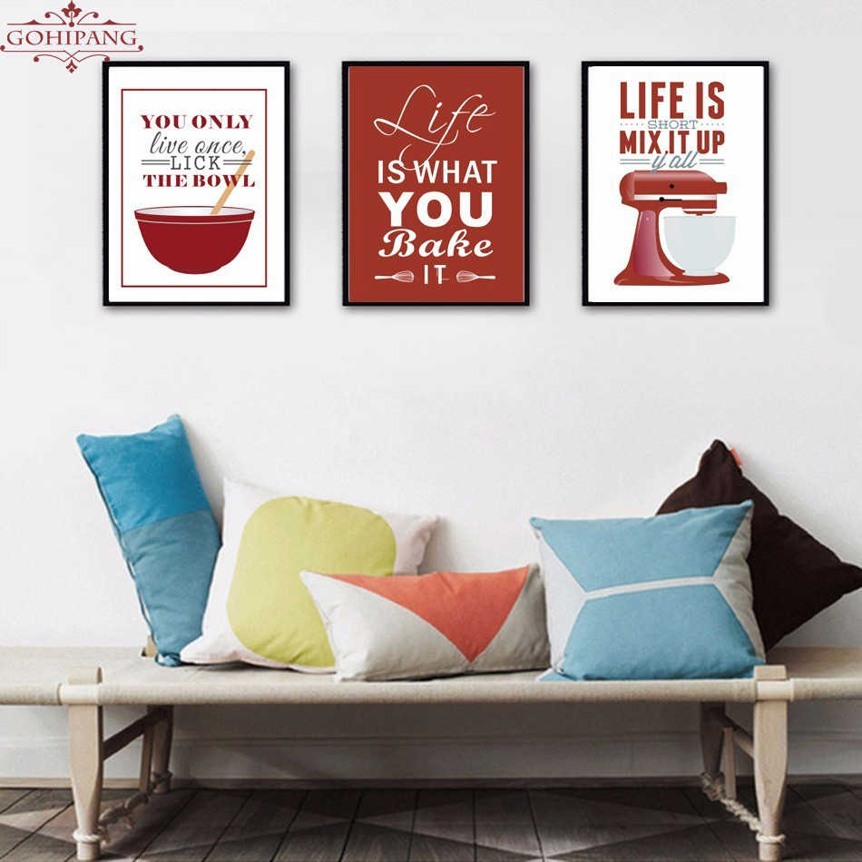Gohipang Colorful Europe Enjoy Kitchen Enjoy Life Quote Canvas Painting Poster and Print Wall Art Pictures Home Decoration Frame