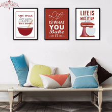 Gohipang Colorful Europe Enjoy Kitchen Life Quote Canvas Painting Poster and Print Wall Art Pictures Home Decoration Frame