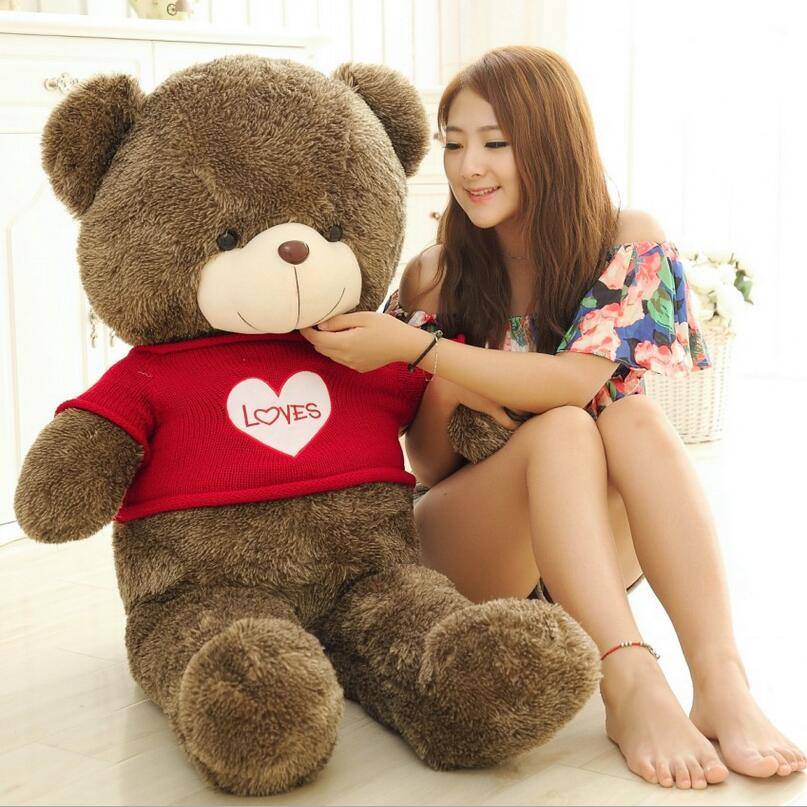 ФОТО 120cm Big Size Sweater Hug The Bear Plush Toy Teddy Bear Doll Valentine's Day Gifts