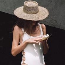 01901-axi new summer handmade linen fedoras cap men women leisure panama hat