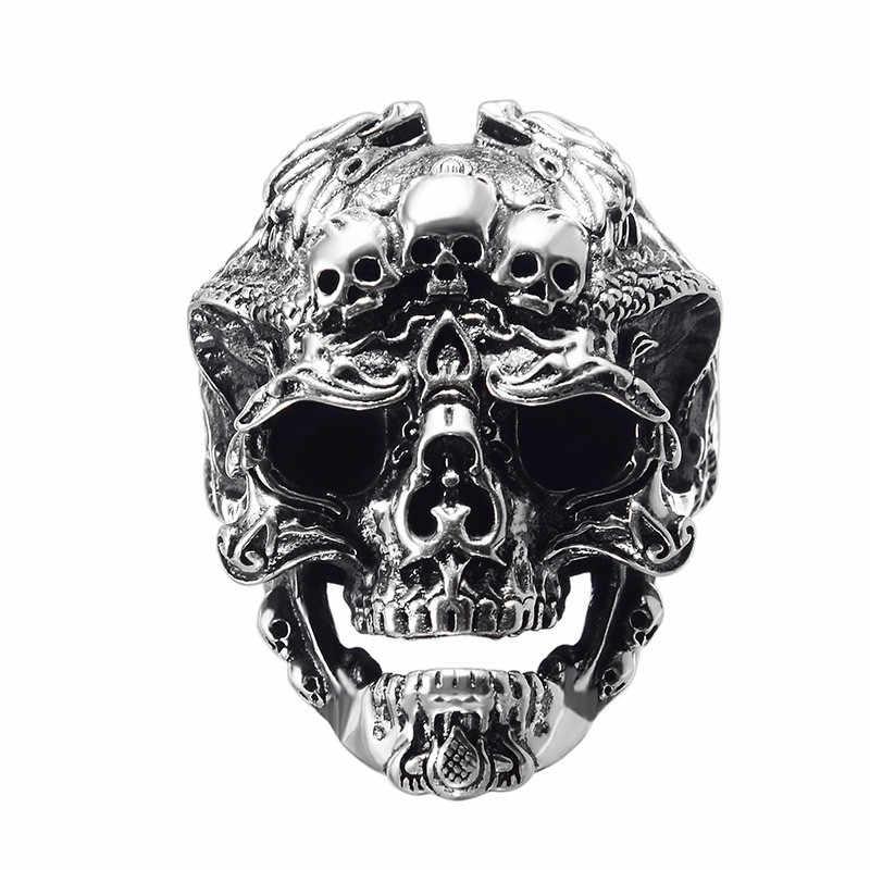 Vintage Rock locomotora hombres anillo ajustable para dedo Retro Color plata dragón patrón grande cráneo cabeza anillos moda Halloween regalo