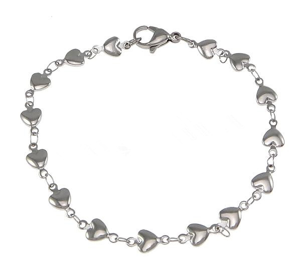 Stainless Steel Heart Chain Silver Love Charm Braces
