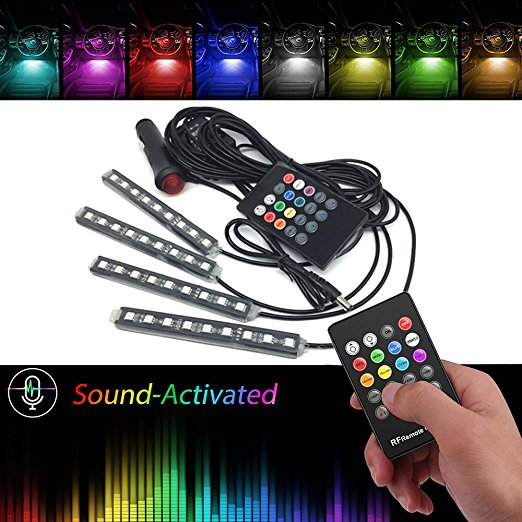 Music control Auto RGB LED Strip Foot Light Car Atmosphere Floor Decoration Car Styling Interior Lamp wireless Remote Control 4 in 1 12v auto car atmosphere light interior floor dash decoration light foot led lamp bar 9 leds with cigarette lighter