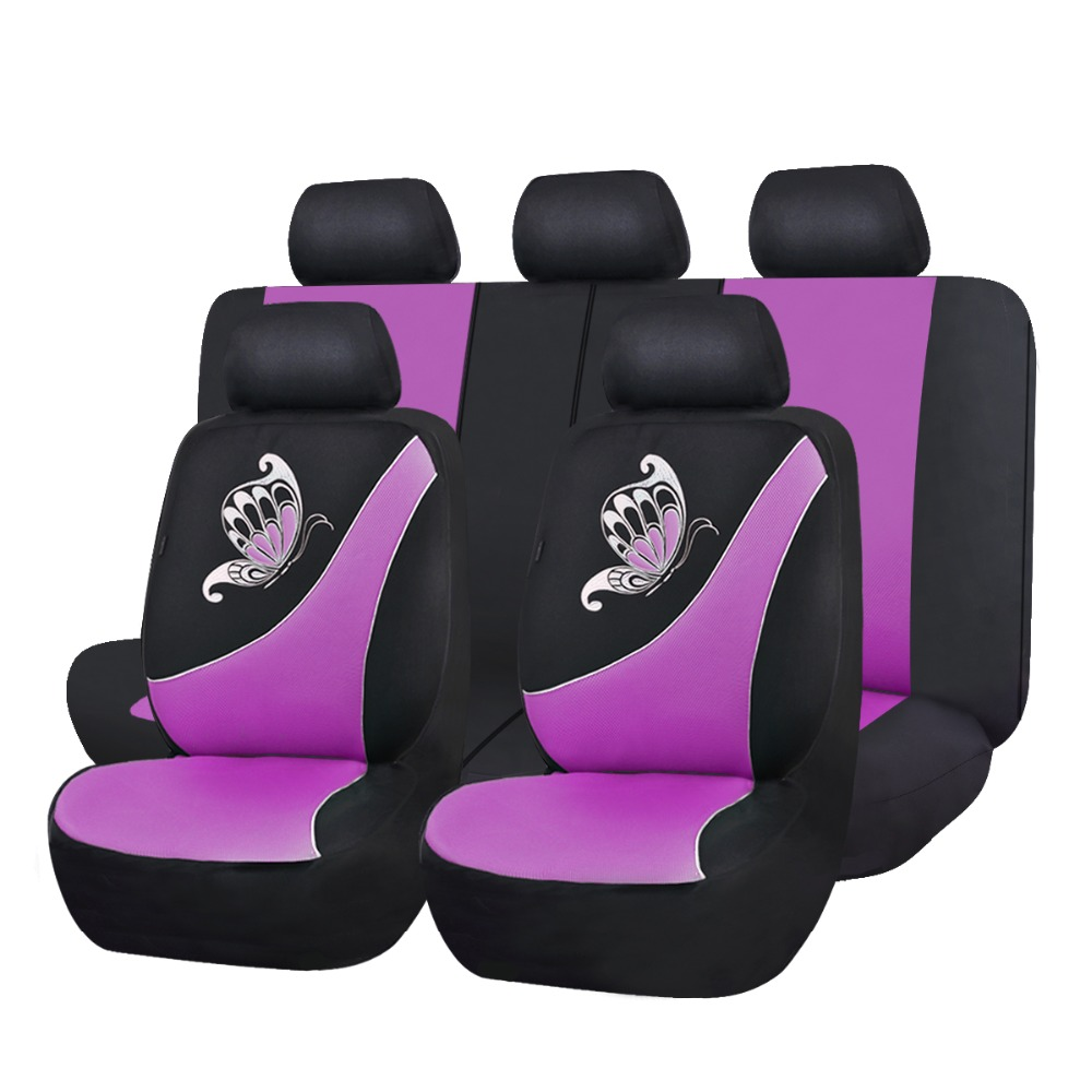 flyingBanner Butterfly Printing Breathable Sandwich Cloth Car Seat Cover Universal Fit Most Vehicles Pink Seat Cover