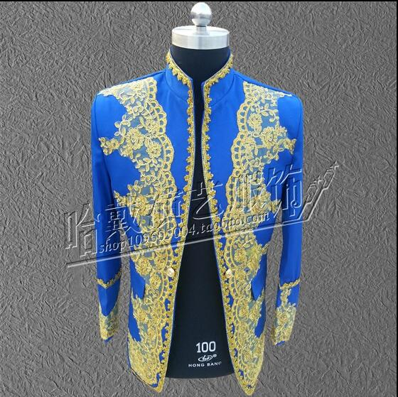 S-6XL!!2018 Long suit costumes embroidered the man ethnic palace embroidered Chinese tunic suit The groom groomsman clothing