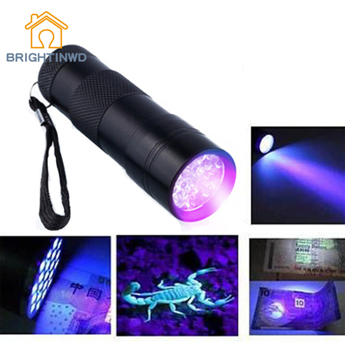 BRIGHTINWD Mini Aluminum Portable UV Flashlight Violet Light 9 LED UV Torch Light Lamp Flashlight Aluminum Alloy