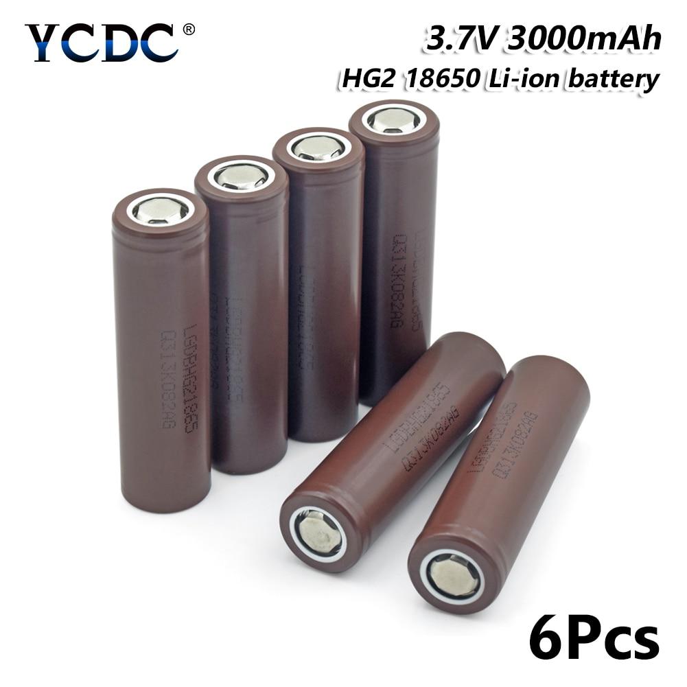 Lampe torche Rechargeable 18650 HG2 Li-ion batterie 3000 mAh 3.7 V 6 pièces pour stylo Laser lampe de poche LED support de batterie de cellule