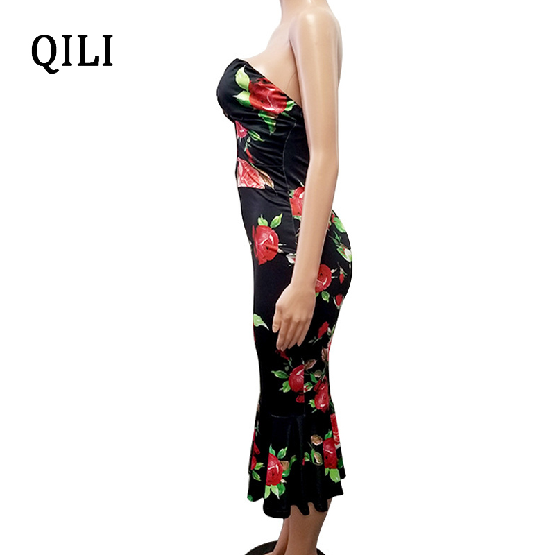 QILI Sexy Strapless Party Dress For Women Floral Printed Ruffles Hollow Out High Waits Dresses Backless Bodycon Dress Female in Dresses from Women 39 s Clothing