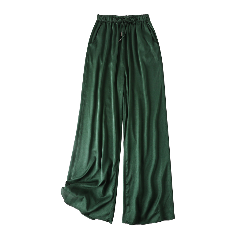 Vintage Women Summer Spring Natural Silk   Pants   Silk Loose Style Trousers Work Wear OL Fashion Holiday green   wide     leg     Pants