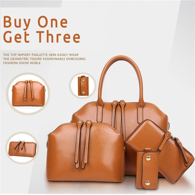 4 Pieces/Set 2016 New Spring Summer Women Fashion Leather Tote/Handbag Shoulder Bags Purse Key Holder 3 Colors