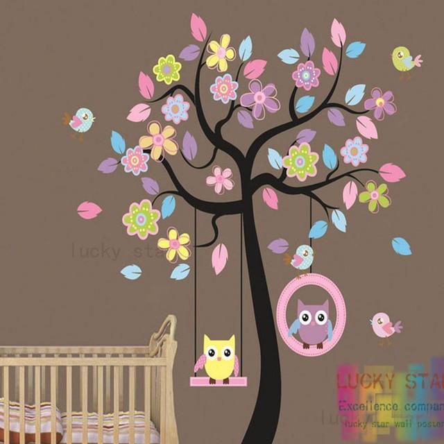 livraison gratuite grand hibou oiseau arbre balan oire wall autocollants bricolage art mural. Black Bedroom Furniture Sets. Home Design Ideas