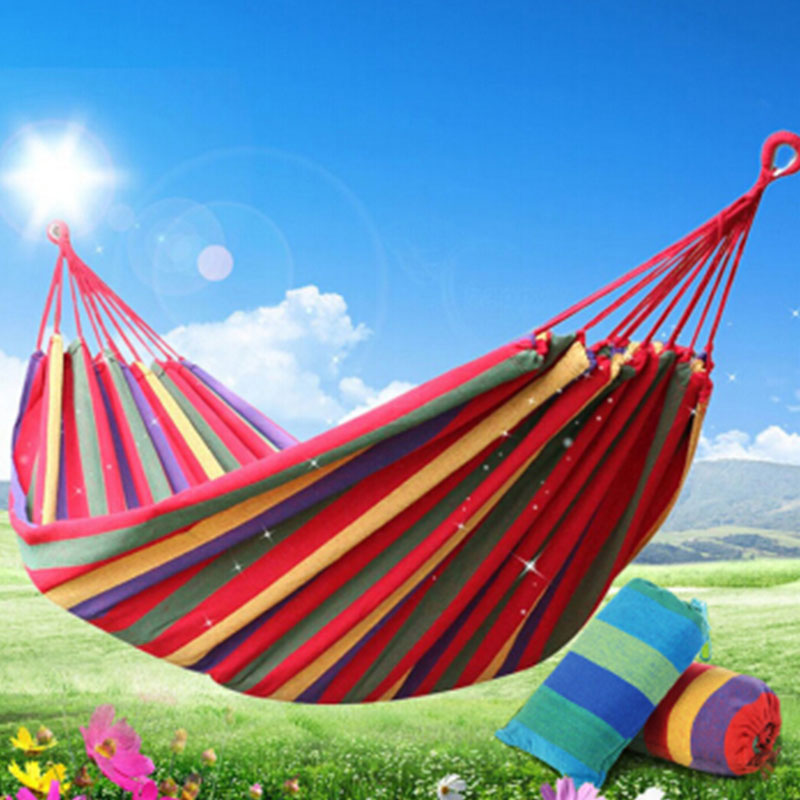 Portable Hammock Outdoor Hammock Garden Sports Home Travel Camping Swing Canvas Stripe Hang Bed Hammock Red, Blue 190 x 150cm promotion hot sale portable 190 x 80cm outdoor hammock outdoor sports travel camping swing canvas stripe hang bed e5m1