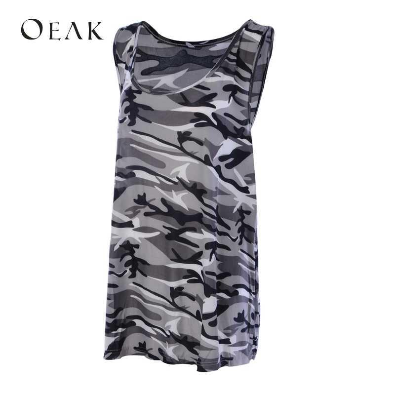 OEAK 5XL プラスサイズ夏の女性のセクシーな迷彩キャミソールカジュアルノースリーブトップス女性のファッションタンクキャミソール