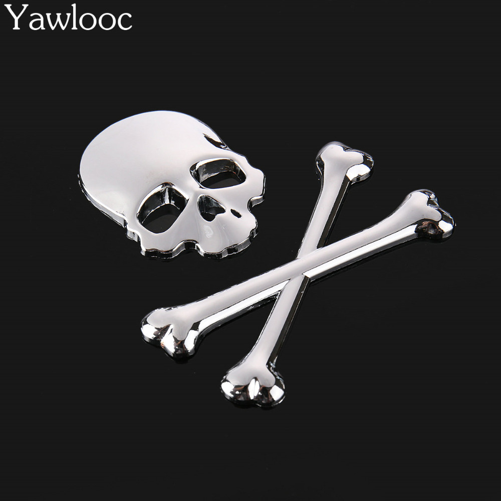 3D Metal Skull Skeleton Car//Motorcycle Decal Sticker Emblem Badge Logo Fashion