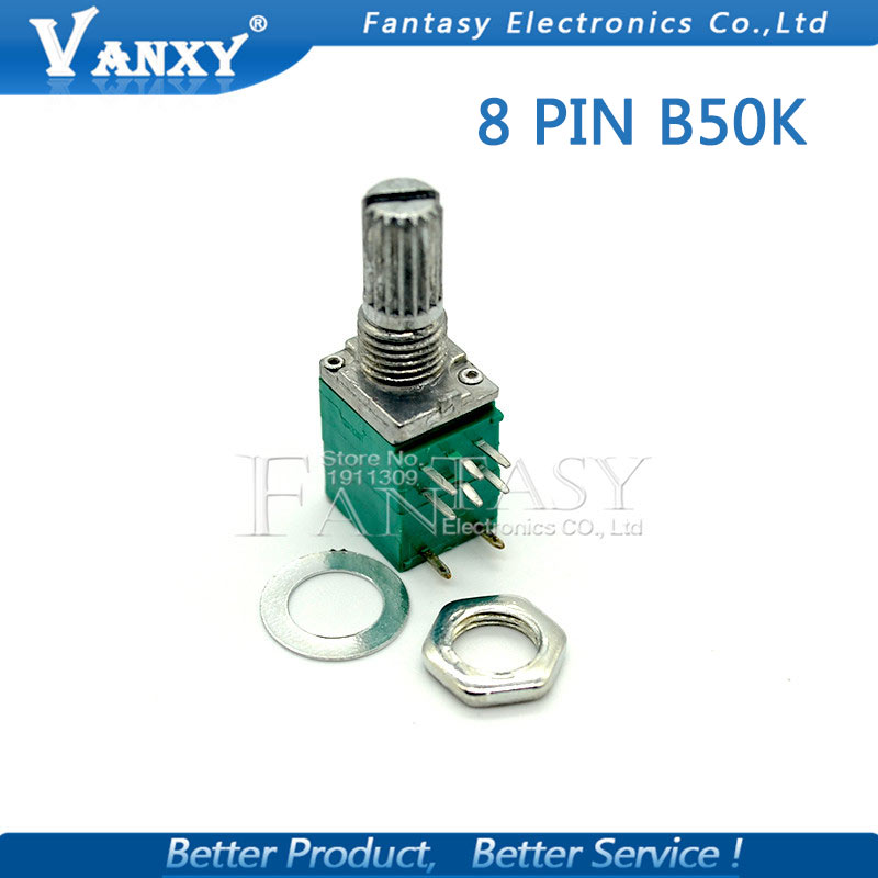 5pcs RV097NS 50K Single Linked Potentiometer B50K With A Switch Audio 8pin Shaft 15mm Power Amplifier Sealing Potentiometer