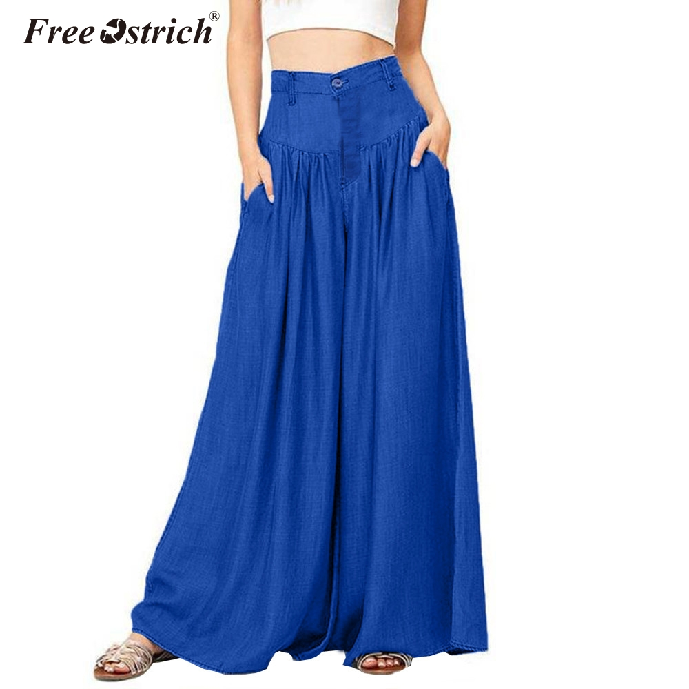 Free Ostrich Trousers Women High Waist Long Harem   Pants   Pockets Loose Pleated   Wide     Leg     Pants   Party Plus Size N30