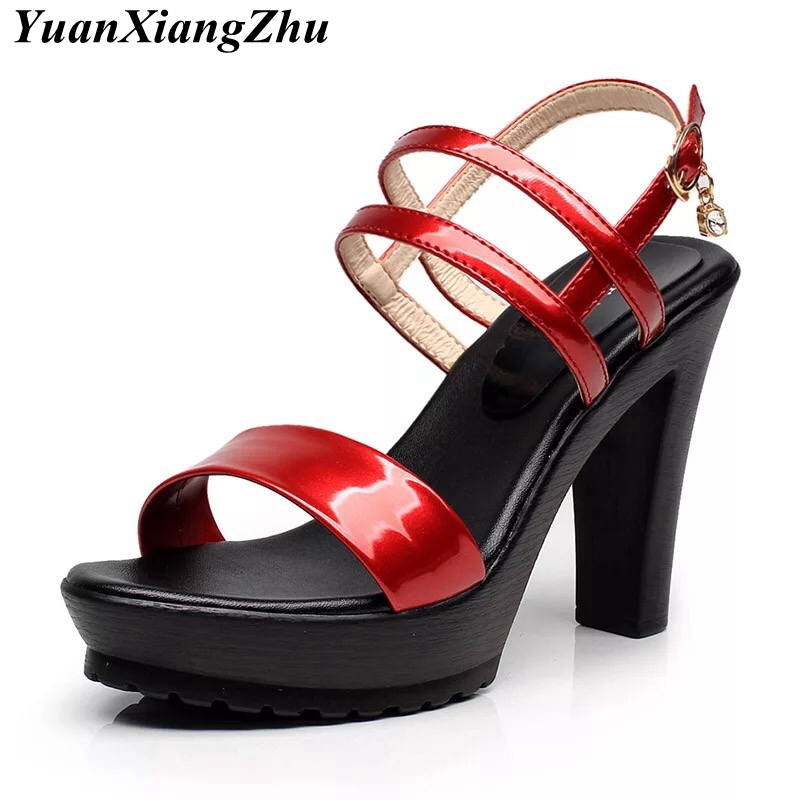Women Pumps Fashion Heels <font><b>Sandals</b></font> <font><b>2018</b></font> Summer <font><b>Sexy</b></font> Platform <font><b>Sandals</b></font> Women Buckle Strap Open Toe Gladiator Shoes Plus Size 33-43 image