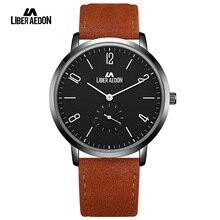 Liber Aedon Top Brand Luxury 2017 Sport Men Watches Waterproof Leather Band Quartz Mens Wristwatch Military Male Clock Watch