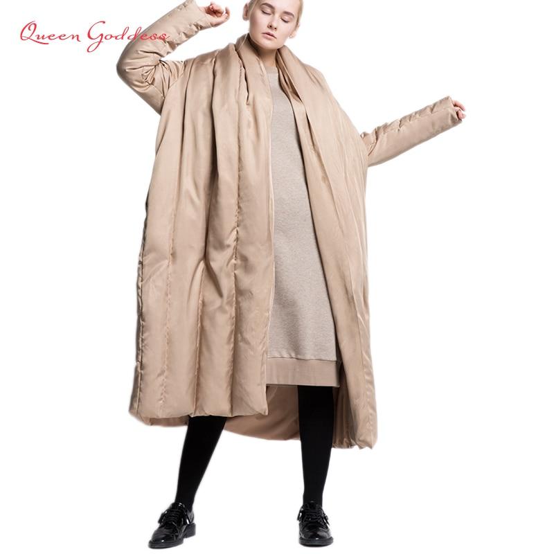2018 nouveau design manteau type épaissir hiver blanc canard vers le bas manteau grande taille femme long doudoune tissu doux hiver collection