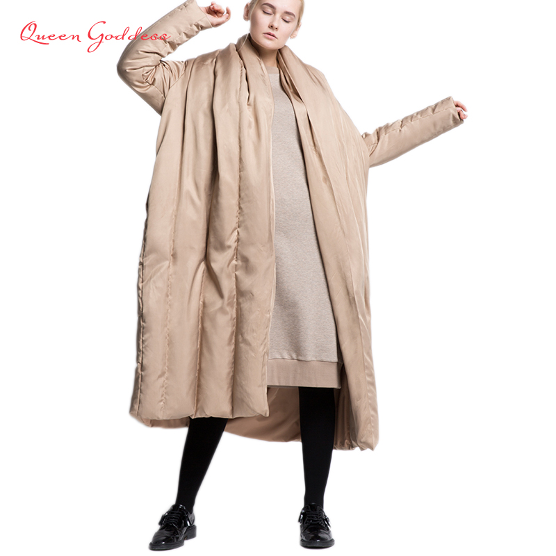 2019 new design cloak type thicken winter white duck down coat plus size female long down jacket soft fabric winter collection-in Down Coats from Women's Clothing    1