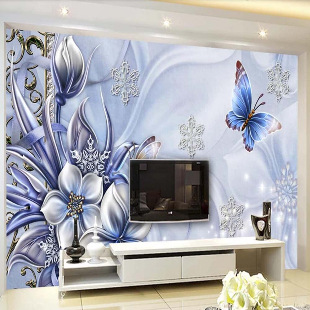 3D Mural Purple Flower Butterfly Wallpaper for Living Room ...