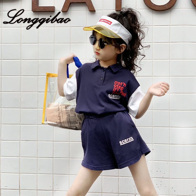 Girls Suit 2019 Summer New Alphabet Printing Color Matching T-shirt Leisure Shorts Sports Childrens Two-piece Set TideGirls Suit 2019 Summer New Alphabet Printing Color Matching T-shirt Leisure Shorts Sports Childrens Two-piece Set Tide