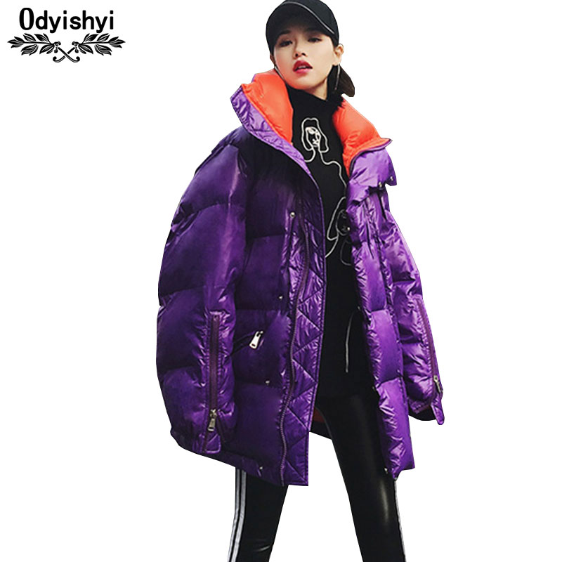 Fashion Glossy Down Cotton Coat Female Large size 2019 New Stand collar Loose Outwear Winter Thicken