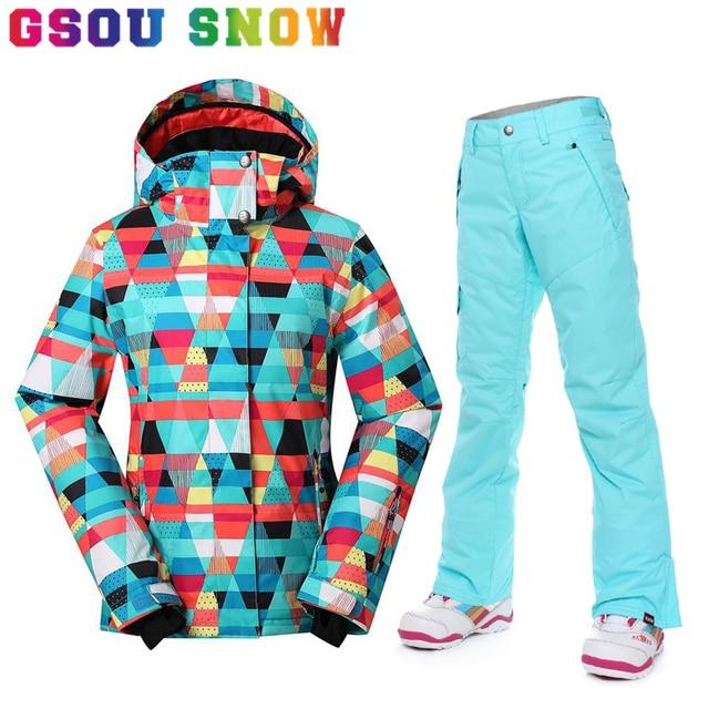 Snowboard de establece Trajes de chaqueta calidez esquí de pantalón mujer Gsou y snow mujer súper x0a7nfO