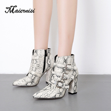 MAIERNISI Print Snake Women Boots Zip Pointed Toe Footwear Thick High Heels Female Boot Party Shoes Female 2019 New Wint недорого
