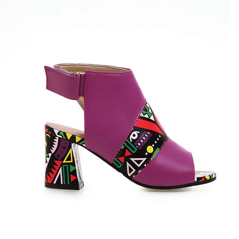 WETKISS Yaz Çizmeler Kadın Egzotik Yüksek Topuklu Çizmeler Baskı Slingback Ayak Bileği Ayakkabı Kadın Moda parti ayakkabıları Bayanlar 2019 Yeni Mor