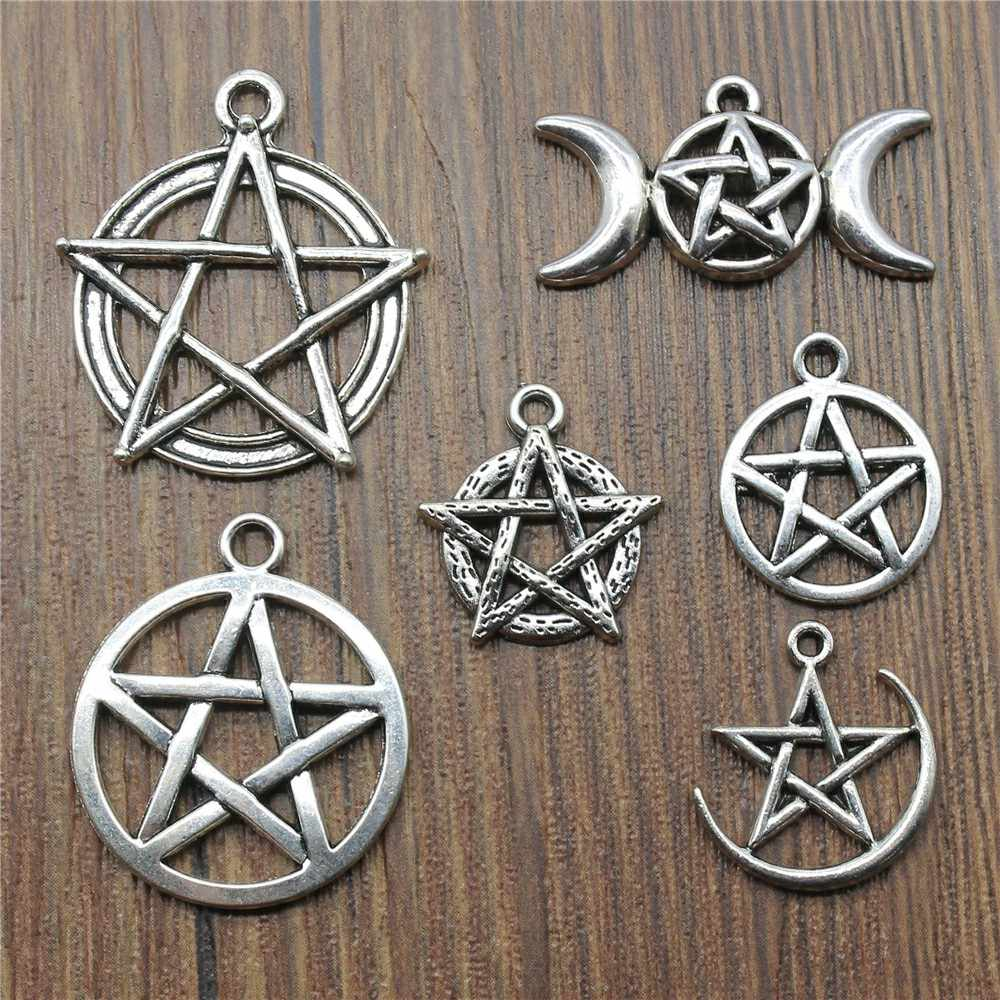 10pcs/lot Antique Silver Color Star Charm Pendants Jewelry Accessories Pentagram Charms For Jewelry Making