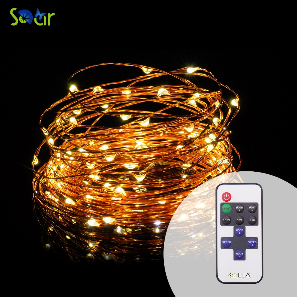 RF Remote 12M 100 led USB Outdoor Led Copper Wire String Lights - Holiday Lighting
