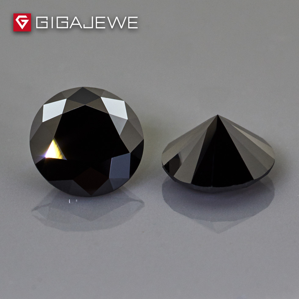 GIGAJEWE Moissanite Round Cut Black Color 4mm-8mm 1ct Beads DIY Gem Making Loose stone Hardness For Fashion Jewelry Girl Gift