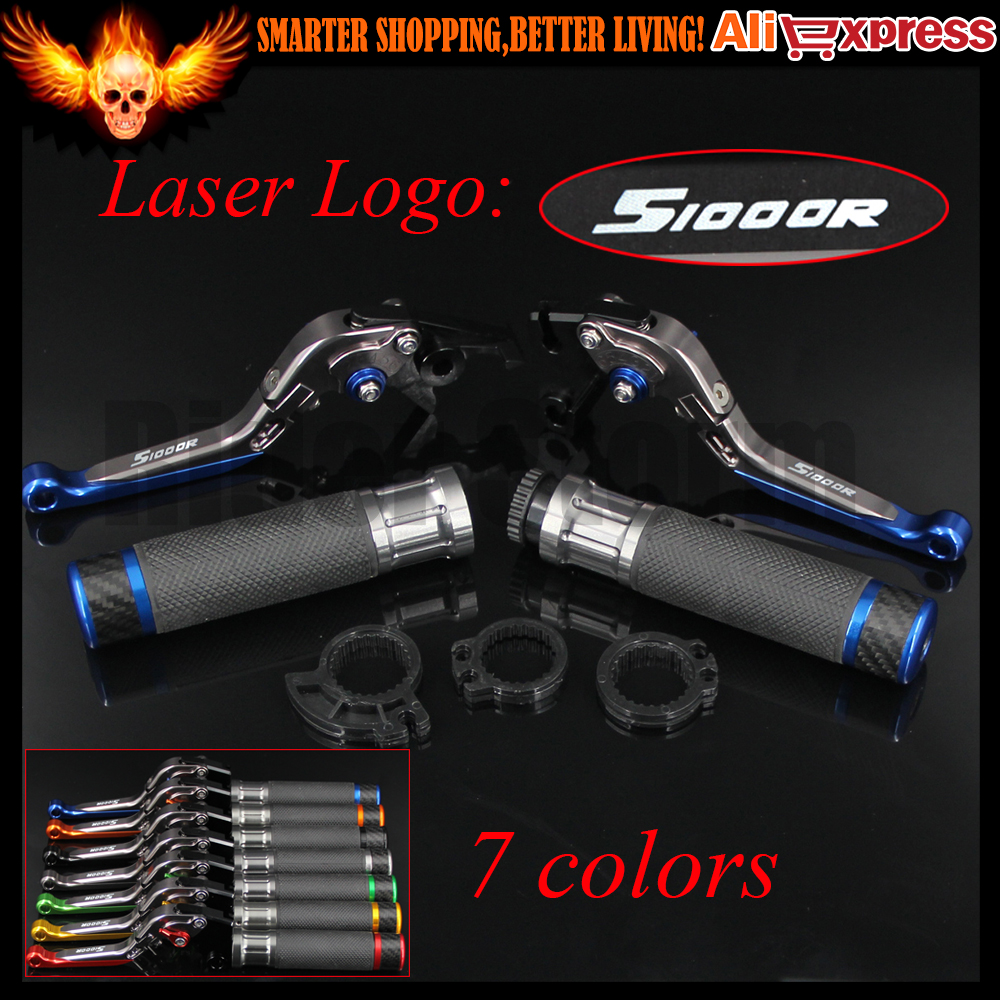 7 Colors Blue+Titanium CNC Adjustable Motorcycle Brake Clutch Levers&Handlebar Hand Grips For BMW S1000R (w and w/o CC) 2014 cnc adjustable folding extendable motorcycle brake clutch levers and handlebar hand grips for bmw k1200r k1200r sport k1200s