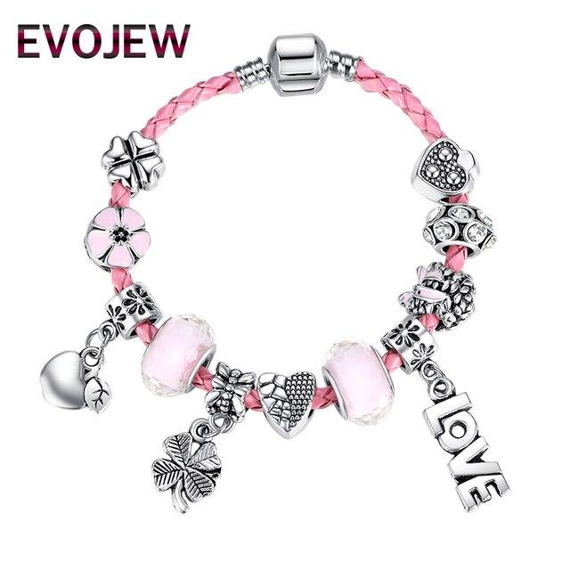 New Design Murano Glass beads bracelet clover&apple&LOVE charms fit leather bracelet &bangle for women girl christmas gift