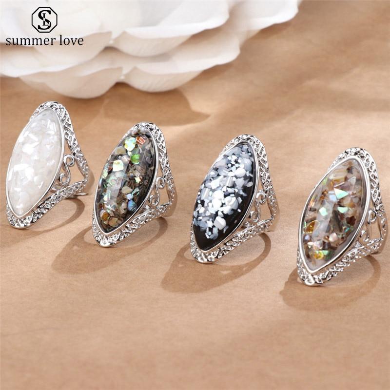 4 цвета, винтажное старинное серебряное кольцо, большая овальная ракушка, кольцо на палец, кольцо для женщин, женские эффектные богемные пляжные украшения, подарок