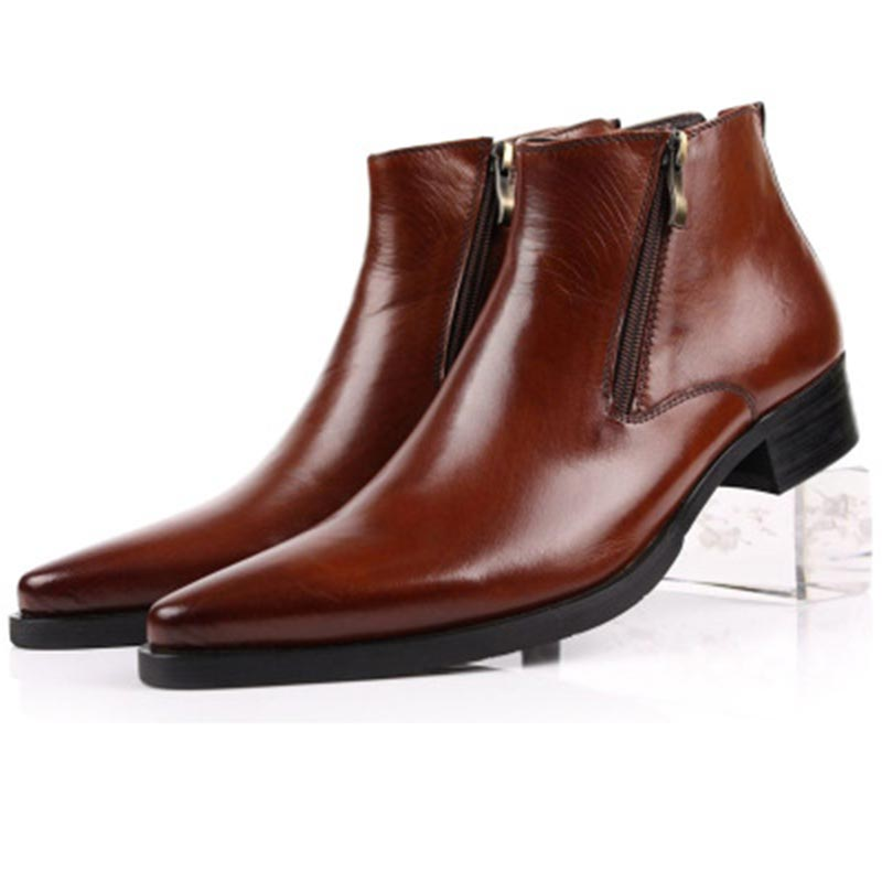 Shoes Men Genuine Leather Business Chelsea Boots Frenulum British Style Cowhide Cusp Head Mens Martin BootsShoes Men Genuine Leather Business Chelsea Boots Frenulum British Style Cowhide Cusp Head Mens Martin Boots