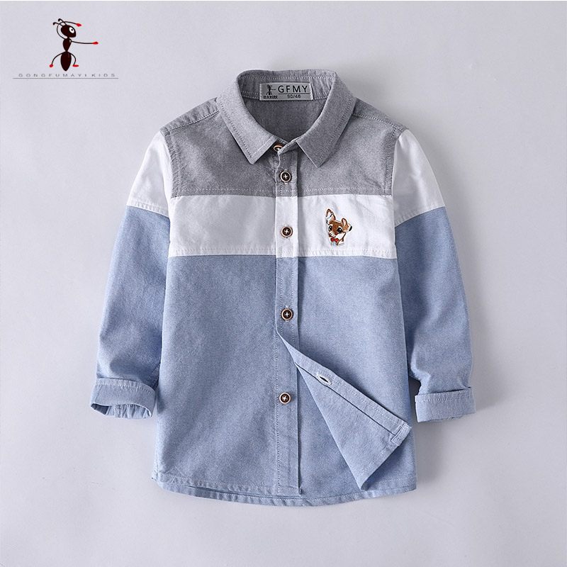 Kung Fu Ant Mixed Color Boys Shirts European Style Blue Yellow Full Sleeve Casual School Uniforms Blouses Turn-down Collar 2926 casual turn down collar color block drawstring design long sleeve coat for women