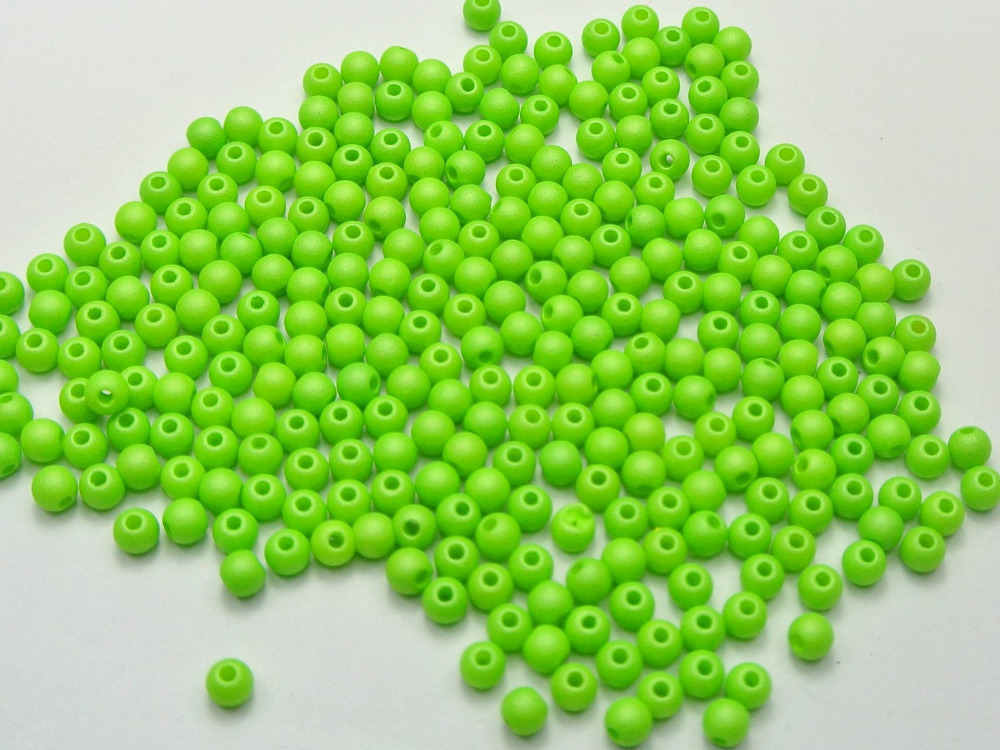 0.16 Devoted 100 Pcs Matte Neon Green Color Acrylic Round Seed Beads 4mm Spacer Fashion Diy Accessories F0111