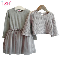 Retail Autumn 2015 New Children S Clothing Girls Long Sleeved Dress Two Piece Knit Concealed Free