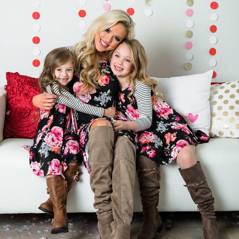 655121197 2019 Floral camisa de niñas familia ropa trajes de playa elegante vestido  concurso princesa vestidos de madre y hija vestido de
