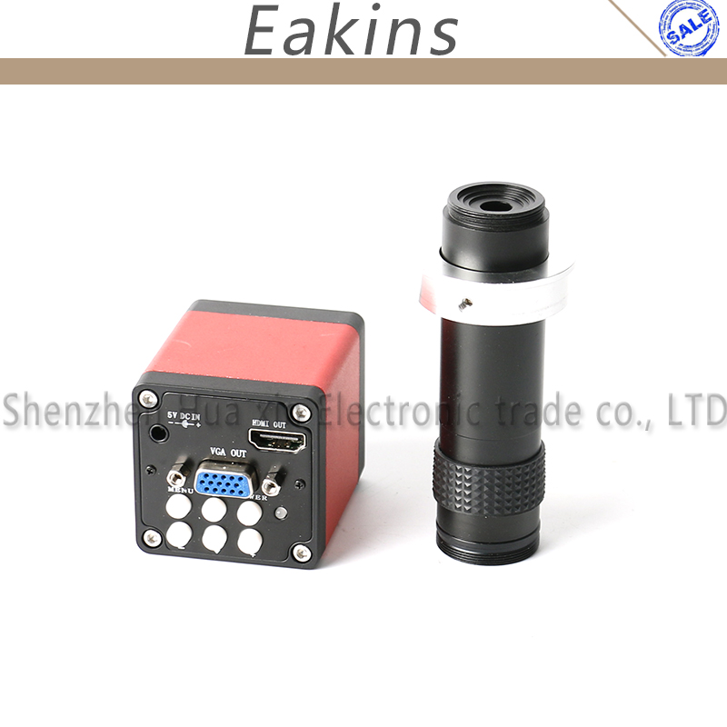 13MP 1/3 CMOS Industry microscope Camera HDMI VGA outputs + 1X-100X Zoom C-mount Lens 18CM High Working Distance 720p 13mp 1 3 industry video microscope camera hdmi vga outputs 60f s c mount lens for phone pcb bga cellphone tablet repair