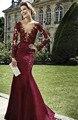 2017 vestidos de vestido de noite vermelho escuro kadisua borgonha mangas compridas contas de rendas Sereia Vestido de Baile Decote Em V Profundo Vestido Formal 0657