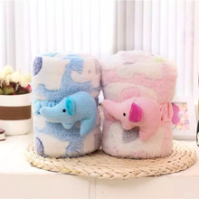 Soft Cotton Polar Fleece Baby Infant Elephant Cartoon Coral Print Bedding Blanket