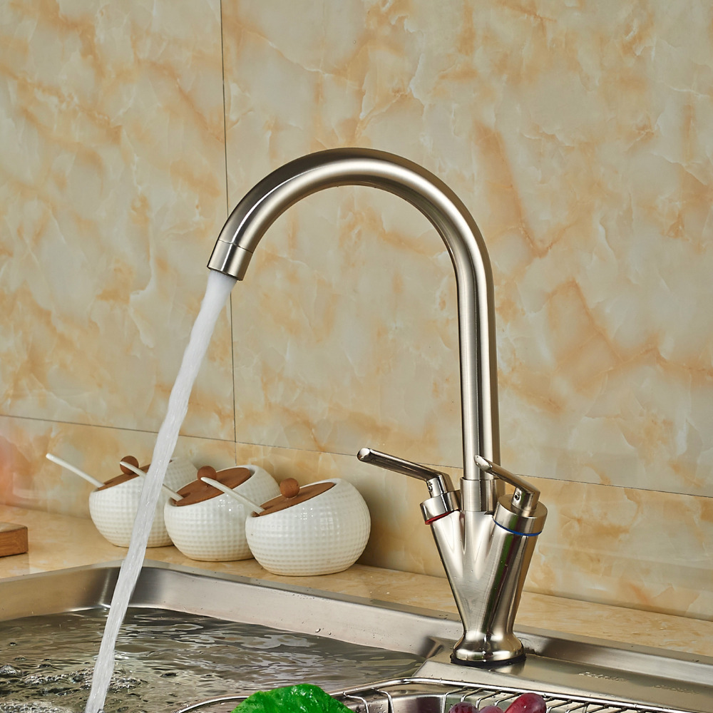Wholesale And Retail Promotion Nickel Brushed Kitchen Faucet Swivel Spout Vessel Sink Mixer Tap Deck Mounted Hot and Cold Water brushed nickel double handles spray stream brass water kitchen swivel spout pull out vessel sink deck mounted mixer tap faucet