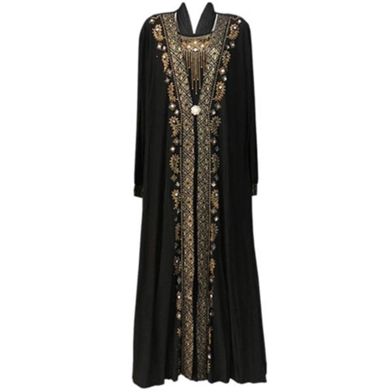 Elegant adult Muslim Women Black Abaya Kaftan Islamic Arab Maxi Rhinestone Robe Muslims Women Dresses Islamic dress